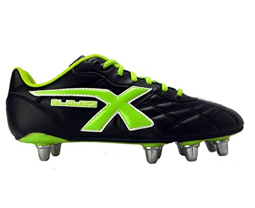 X-BLADES Legend 8 Tacchetti Scarpa da Rugby Uomo Nero/Verde