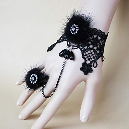 Luxuriöse Kostüm Piraten - MLSJM Frauen Schwarzer Spitze Armband Mit Ring, Luxuriöse Nerz Haar Strass Spitze Armband, Gothic Vintage Handgemachte Braut Armband Ring Set,Schwarz