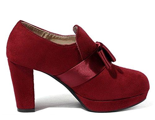 Modische Damen Wildleder Bowknot Seidebände Plateau Aufzug Blockabsatz High Heels Pumps Rot