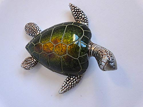 Casablanca Schildkröte Josie Poly,grün/Silber L.10cm