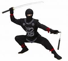 Idea Regalo - WIDMANN WID74527 - Costume per Bambini Ninja Nero, Nero, 140 cm/8-10 Anni