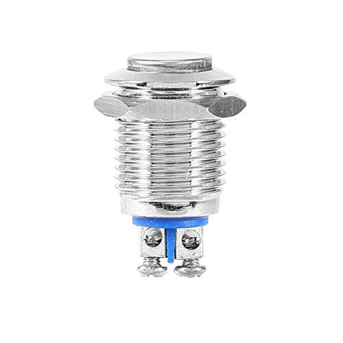 Interruttore Elettrico Pulsante Momentaneo Metallo Impermeabile 12 mm