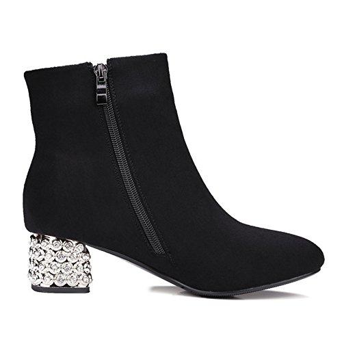 COOLCEPT Damen Mode-Event Fransen Spitze Toe Blockabsatz Reißverschluss Knöchelriemchen Schwarz