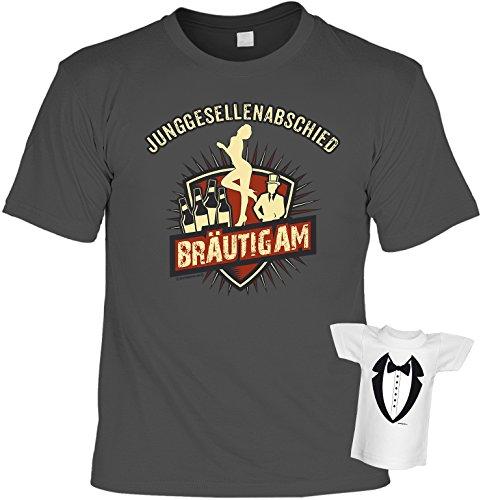 Fun T-Shirt zum Junggesellenabschied - Bräutigam! Plus einem Minishirt! Farbe: Anthrazit Anthrazit