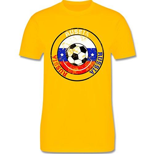 EM 2016 - Frankreich - Russia Kreis & Fußball Vintage - Herren Premium T-Shirt Gelb