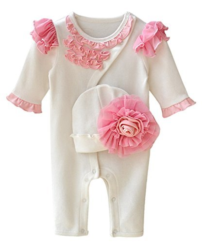 8a1b781f2 58% OFF on Baby Girls One Piece Footed Flowers Cotton Pajamas ...