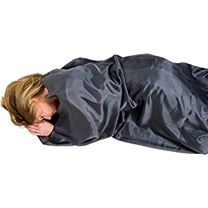 41%2BSVhOiDXL. SS300  - Lifeventure Unisex's (Grey) Silk Sleeping Bag Liner, Rectangular, One Size