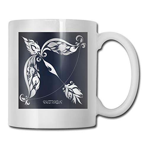 Jolly2T Funny Ceramic Novelty Coffee Mug 11oz,Astrology Sign Sagittarius with Flower Images Planetary Impacts On Nature,Unisex Who Tea Mugs Coffee Cups,Suitable for Office and Home -