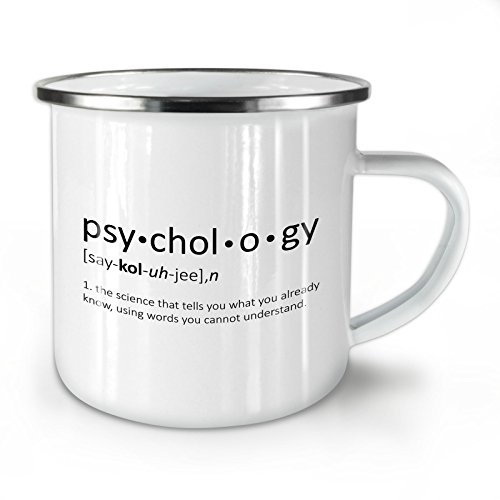 Wellcoda Psychologie Wissenschaft Emaille-Becher, Lustig - 10 Unzen-Tasse - Kräftiger, griffiger Griff, Zweiseitiger Druck, Ideal für Camping und Outdoor