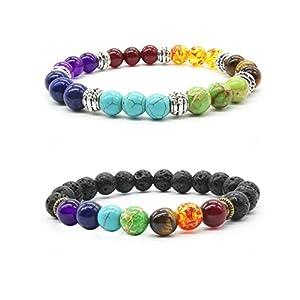 2x Mayting Reiki-Lavastein-Armband, Naturstein, Tiger-Auge für Yoga Balance, 7-Chakra-Armband