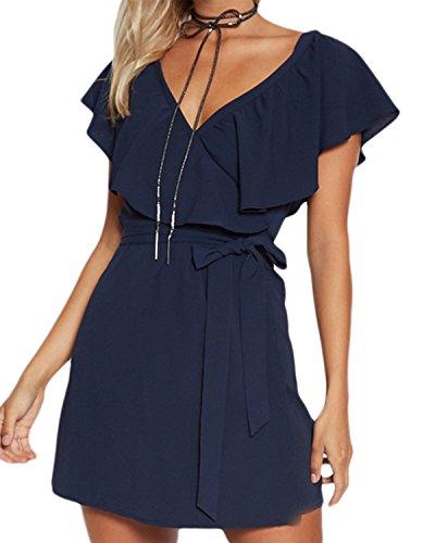 YOINS Kleid Damen Sommer Kurz V-Ausschnitt Schulterfrei Kleider Elegant Strandkleider Minikleid...