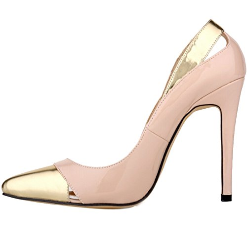 Oasap Women Fashion Paneled Cut Out Kitten High Heel Court Shoes Red