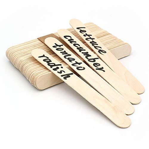 KINGLAKE 100 Stücke 15 cm Popsicle Sticks Holzstäbchen Natürliche Craft Sticks Pflanze Etikette Hölzern für Handwerk Hausgemachte DIY Dessert Machen Pflanzen Marker