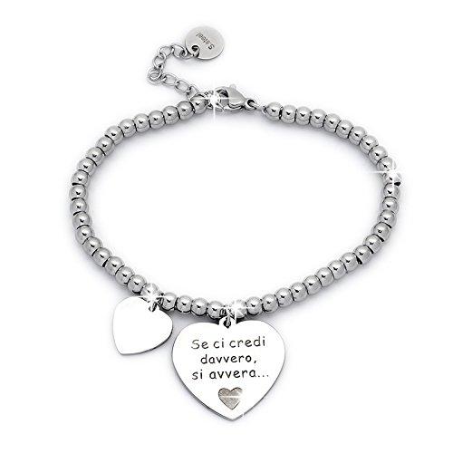 Beloved ❤️ Braccialetto da donna, bracciale in acciaio emozionale - frasi, pensieri, parole con charms - ciondolo pendente - misura regolabile - incisione - argento (MOD 11)