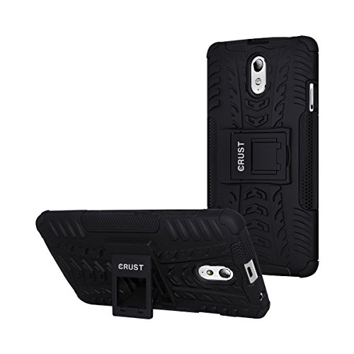 Vibe P1m Cover, CRUST™ Armor Case For Lenovo Vibe P1m Shock Proof High Impact Kick Stand Dual Layer Hard/Soft Back Cover (Black) - Retail Packaging