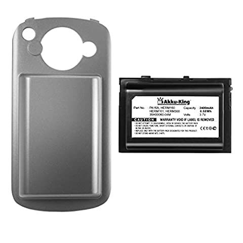 Akku-King Battery for HTC P4500, T-Mobile MDA Vario 2, Vodafone v1605, O2 XDA Trion, Cingular 8525 - replaces 35H00060-00M, BTR6700 - Li-Polymer 2400mAh - with back cover - black