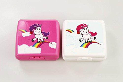 TUPPERWARE To Go Sandwich-Box Einhorn pink + weiß Pausenbox Schule Brotbehälter
