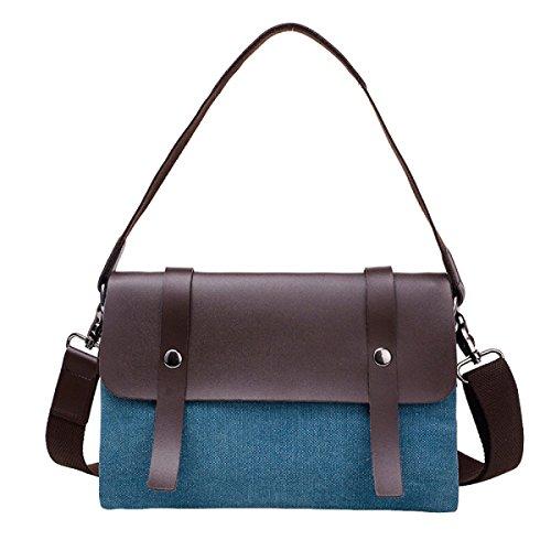 Damen-Segeltuchbeutel-Kunstart Retro- Schlagfarbe Schräge Minibacke Blue
