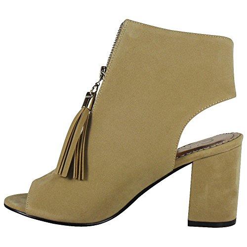 Loudlook Nouveau Femmes Mesdames Peep Toe Cheville Zip Mid Bloquer Talon Faux Suede Chaussures Bottes Taille 3-8 Beige