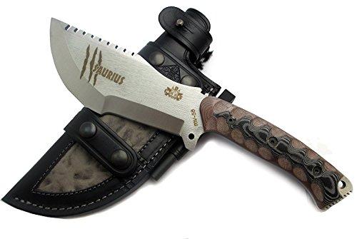 SAURIUS - Outdoor / Survie / Couteau de chasse - Lame inox MOVA-58 avec étui de transport en cuir - Manche en Micarta - Allume feu (firesteel) incluse. Fabriqué en Espagne
