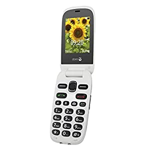 "Doro 6030 Unlocked Clamshell Big Button Mobile Phone for Seniors with 2.4"" Screen, Emergency Button and Widely Separated High Contrast Keys (Graphite/White)"