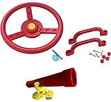 Loggyland Zubehörset für Spielturm Lenkrad, Fernrohr und Handgriffe, rot