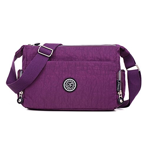 SUNRAY-BUY - Borsa a tracolla Materiale esterno: nylon impermeabile Purple