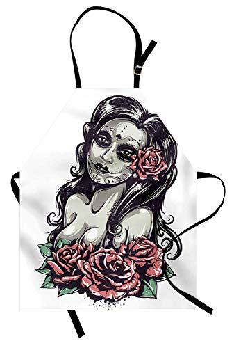 Ethnische Schürze, tote sexy Mädchen Rosen mexikanische Zuckerschädel-Verfassung aztekische Kultur-Abbildung Zombie-Konzept, Unisexküchen-Latzschürze mit justierbarem Hals für das Kochen backende ()