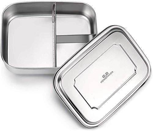 G.a HOMEFAVOR 1800ml Lunchbox rostfreies Edelstahl Bento Brotdose mit 3 Fächern, Groß, 23 * 17.2 * 7 cm