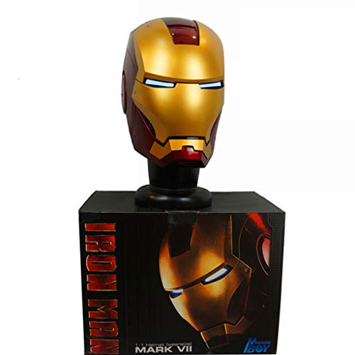 K-Flame Marvel Legends Iron Man Elektronischer Helm Erwachsenen Kostüm Neuheit Zubehör für Weihnachtsfeier Kostüm Prop,Gold,60cm