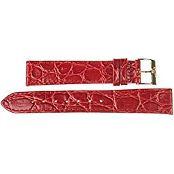 Kaiser Watch Leather Band Wrist Watch Red Leather Watch Strap 18 mm Clasp: Yellow 18 mm