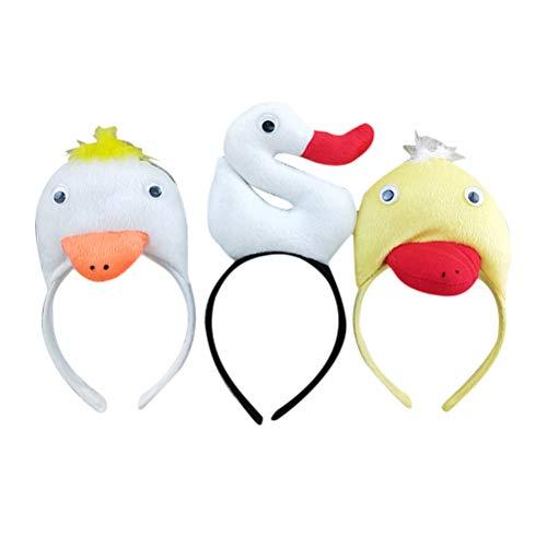 Tier Kopfbedeckung Kostüm - Amosfun 3 Stück Plüsch Tier Haarreif Stirnband Kopfbedeckung für Kinder Party Cosplay Haarschmuck (Weiße Ente + Gelbe Ente + Weißer Schwan)