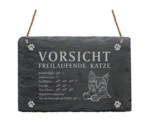 Schiefertafel « VORSICHT FREILAUFENDE KATZE » ca.22 x 16 cm - Schild (Schild Katze Vorsicht)