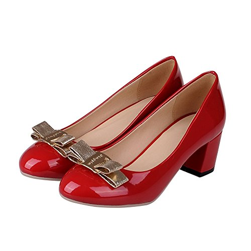 BalaMasa filato in fiocco, da donna, in pelle, punta arrotondata, pompe Red