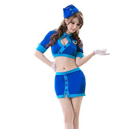 (WNQ Rollenspiel SM Einstellbare Heiße Jumpsuit Mieder, Sexy Blaue Stewardess Korsett Set Nachtclub Spaß Uniform A+)