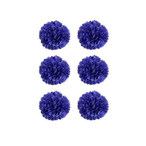 YaptheS DIY dekoratives Seidenpapier Blumen-Kugel-Papierlaternen Perfekt für Party Hochzeit Startseite Außendekoration Marineblau 6 Inch 6pcs