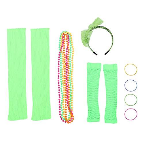 Amosfun 80er Jahre Outfit Kostüm Zubehör Neon Stirnband Halskette Armband Fingerlose Fischnetz Handschuhe Bein Ärmel für 80er Jahre Party Dress Up Kostüm Zubehör (grün)