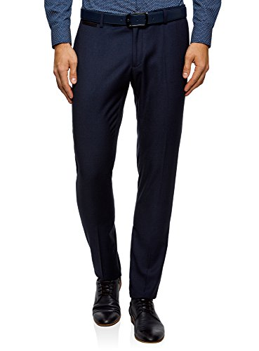 oodji Ultra Men Basic Slim Trousers, Blue, ES 44 (L)