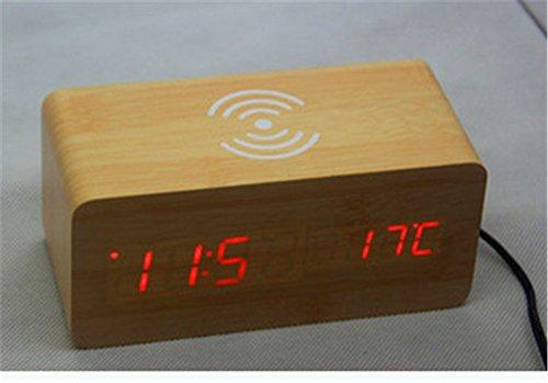 AIZIJI Cargador inalámbrico Creativo Voice Control LED Reloj de Madera Creativa Reloj Reloj Alarma silenciosa Clock Reloj de Madera
