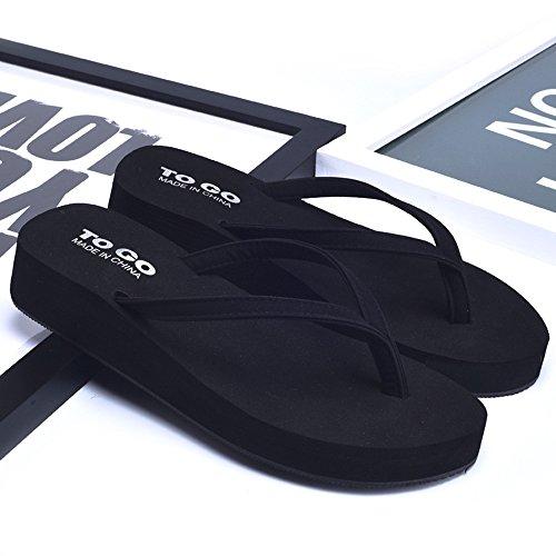 Donne sandali Flip flop antiscivolo di modo estivo delle donne Pantofole molle della suola di gomma Pantofole fresche della spiaggia Bianco / Nero / oro / arancio Confortevole ( Colore : Arancia , dim Nero