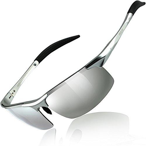 DUCO Herren Sportbrille Polarisierte Sonnenbrille Fahrerbrille 8177S (Silber, Mercury Spiegel)