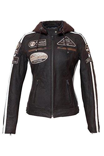 Damen Motorradjacke mit Protektoren, Braun, Große : 5XL (Braun Nappa-leder)