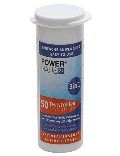 POWERHAUS24 50 Teststäbchen 3 in 1: Aktivsauerstoff, pH Wert und Algenschutz