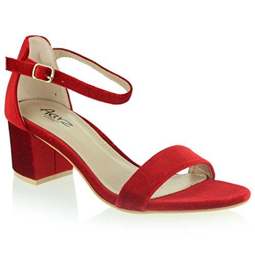 Donne Le Signore Velluto Punta Aperta Cinturino Alla Caviglia Mideo Tacco Sera Casuale Formale Festa Sandali Scarpe Taglia Rosso