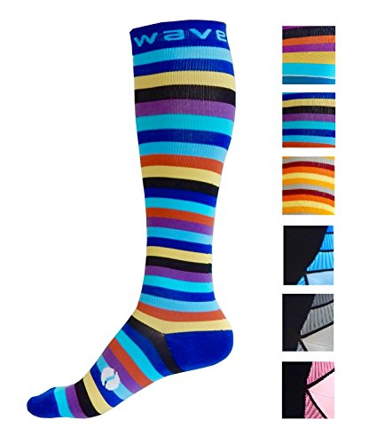 Kompression Socken (1 Paar) für Damen & Herren von Wave – Beste für Running, Leichtathletik, Crossfit, Flight Reisen, Still Schwangerschaft, (T-shirt Smartwool-wolle)