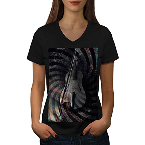 wellcoda Geige Kunst Spiral Musik Frau L V-Ausschnitt T-Shirt