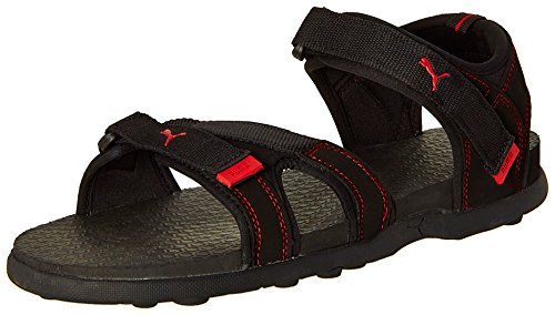 Puma Men's Techno Black and High Risk Red Athletic & Outdoor Sandals - 8 UK/India (42 EU)