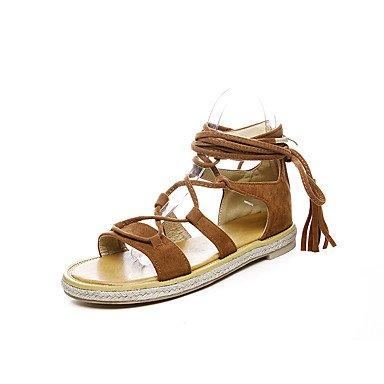 Zormey Damen Sandalen Frühling Sommer Herbst Club Schuhe Gladiator Kunstleder Outdoor Dress Casual Flachem Absatz Reißverschluss Quaste US3.5 / EU33 / UK1.5 / CN32