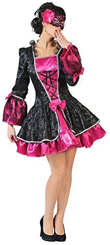 Barock Kostüm Vicky Gr. 40 42 für Damen - Rokoko Minikleid Verkleidung in Pink und Schwarz