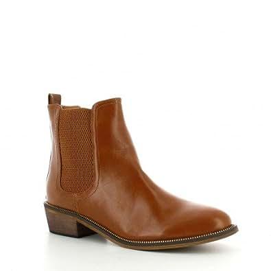 Ideal Shoes - Bottines style chelsea Nacera Camel 41